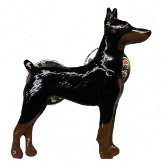 Black And Tan Doberman Pinscher Hand Painted Pin