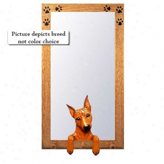 Black And Tan Miniature Pinscher Hall Mirror With Oak Natural Frame