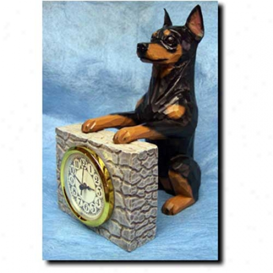 Black And Tan Miniature Pinscher Mantle Clock