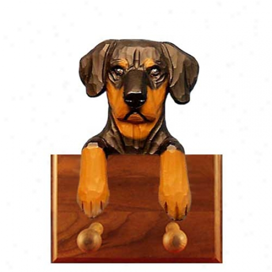 Black And Tan Natural Doberman Pinscher Leash Holder