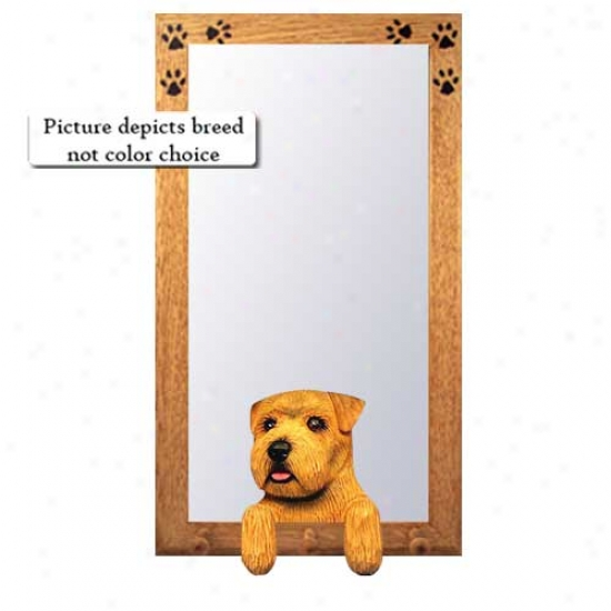 Black And Tan Norfolk Terrier Hall Mirror With Basswood Pine Frame