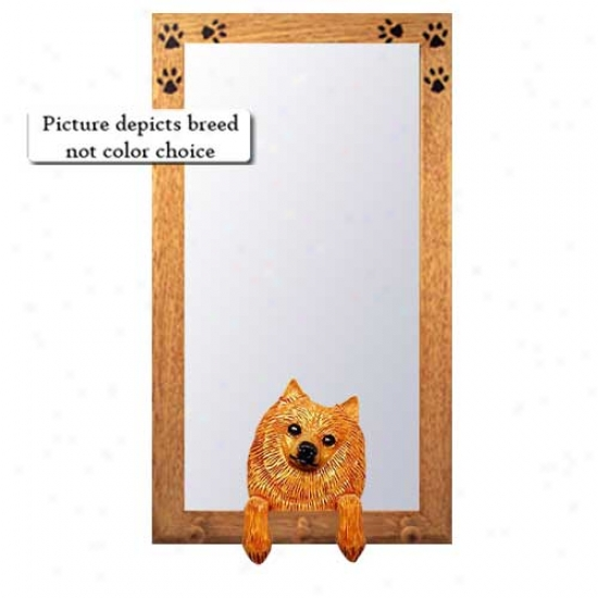 Black And Tan Pomeranian Hall Mirror With Oak Natural Frame