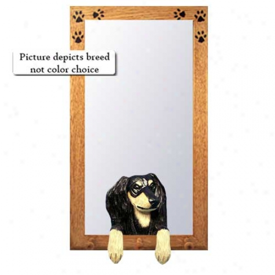 Black And Tan Saluki Hall Mirror With Basswood Pine Frame