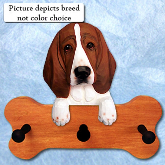 Black And White Basset Hound Bone Hang Up Maple Finish