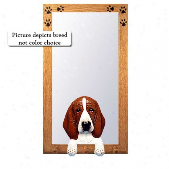 Black And Pure Basset Hound Hall Mieror With Oak Natural Frame
