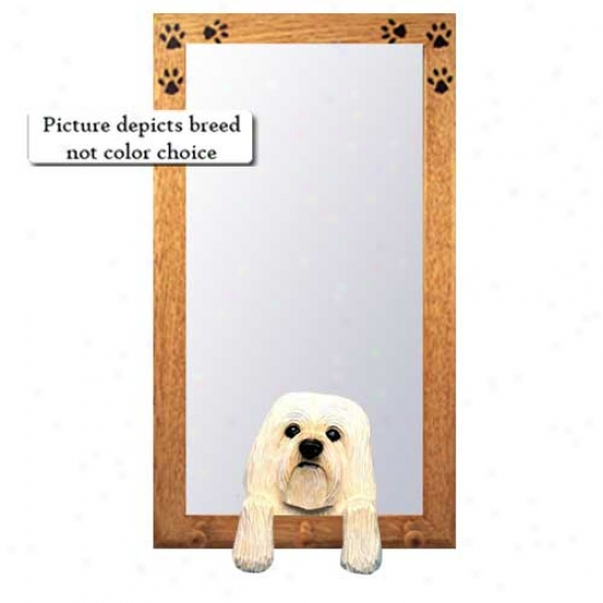 Black And White Havanese Hall Mirror With Oak Natural Frame