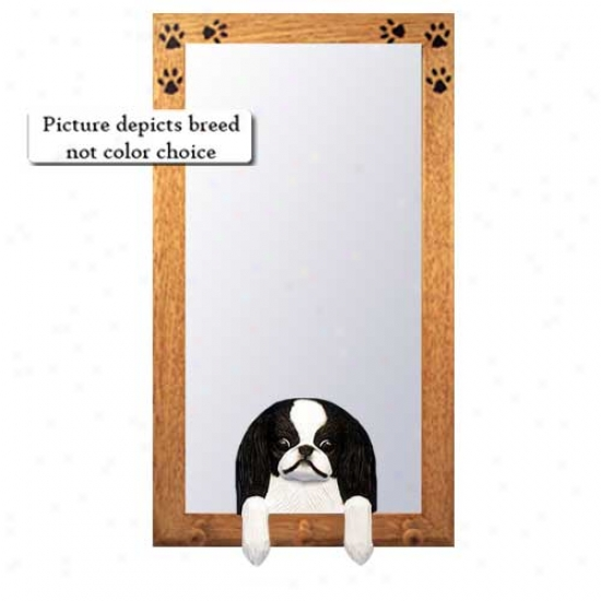 Black And White Japanese Chin Hall Mirror With Oak Golden Fdame