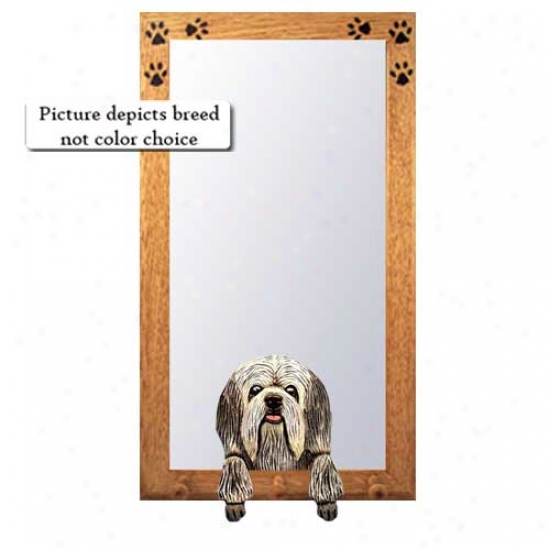 Black And White Lowchen Hall Mirror Wit yBasswood Walnut Frame