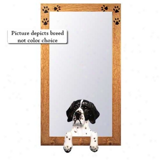 Black And White Pointer Hall Mirror With Baxswoox Walnut Frame