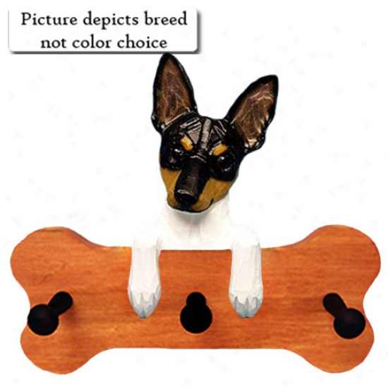Black And White Rat Terrier Bone Hang Up Maple Finish