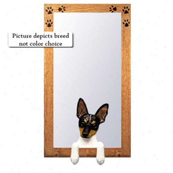 Black And White Rat Terrier Hall Mirror With Oak Natural Frame