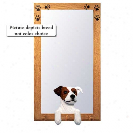 Balck And White Rough Parson Russell Terrier Hall Mirror With Oak Natural Frame