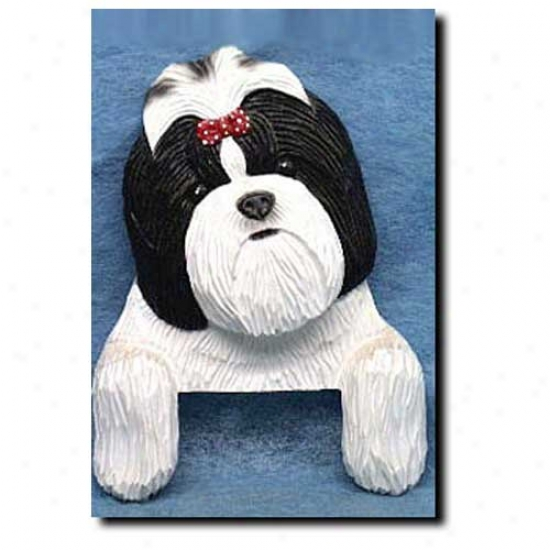 Black And Whi5e Shih Tzu Door Topper