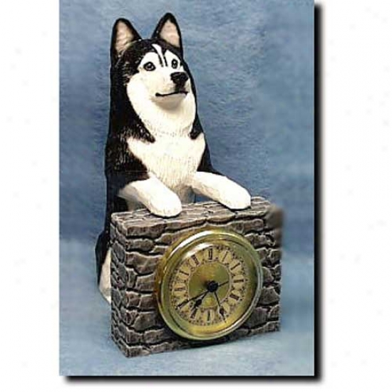 Black And White Siberian Husky Mantle Clock