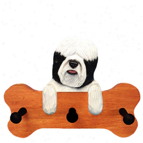 Black And White Tibetan Terrier Bone Hang Up Maple Finish
