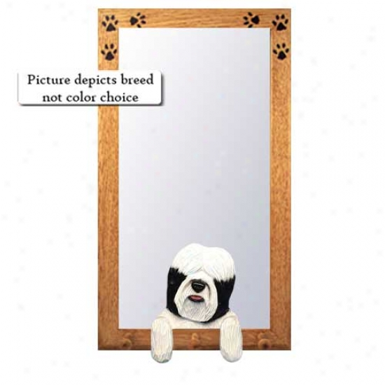Black And White Tibetan Terrier Hall Mirror With Basswood Walnut Form
