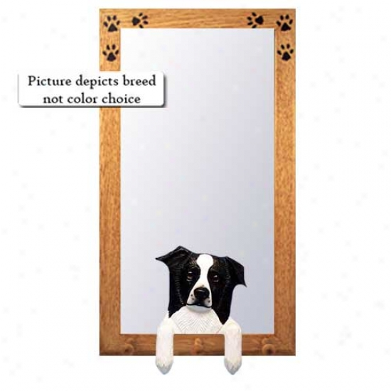 Black Border Collie Hall Mirror With Basswood Pine Frame