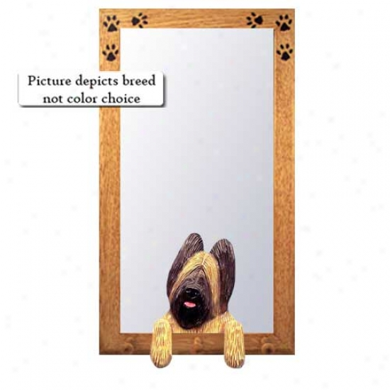 Black Briard Hall Mirror With Bqsswood Pine Frame