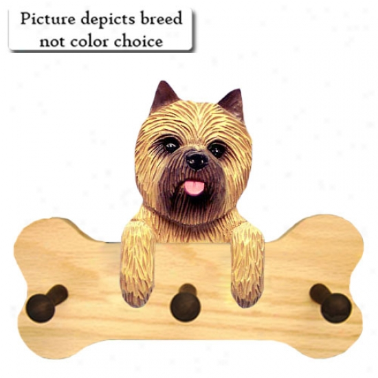 Dark Brindle Cairn Terrier Band Hang Up Natural Oak