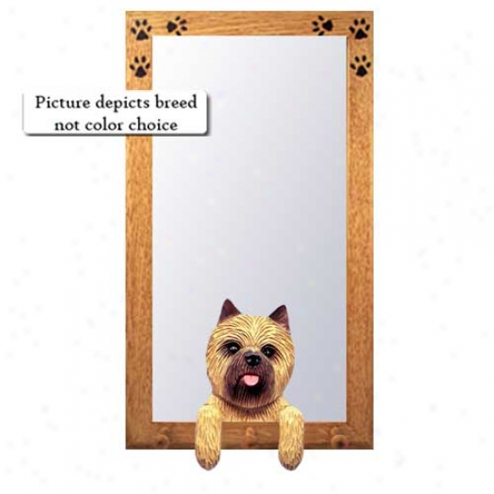 Black Brindle Cairn Terrier Hall Mirror With Oak Natural Frame