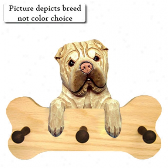 Black Chinese Shar-pei Bone Hang Up Natrual Oak