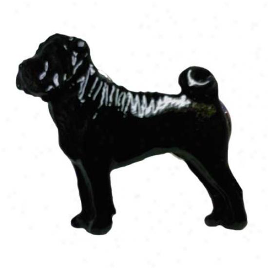 Black Chinese Shar Pei Handful Painted Pin