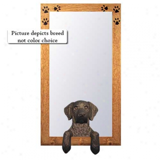 Negro Curly Coated Retrie\/er Hall Mirror With Basswood Walnut Frame