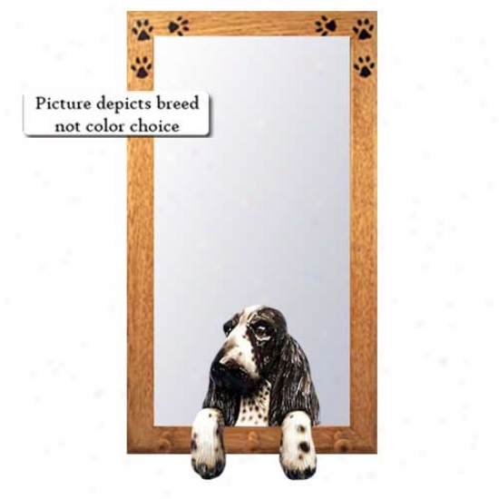 Black English oCcker Spaniel Hall Mirror With Basswood Pine Frame