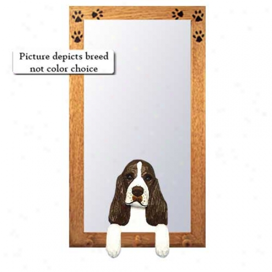 Black English Springer Spaniel Hall Mirror With Basswood Pine Frame