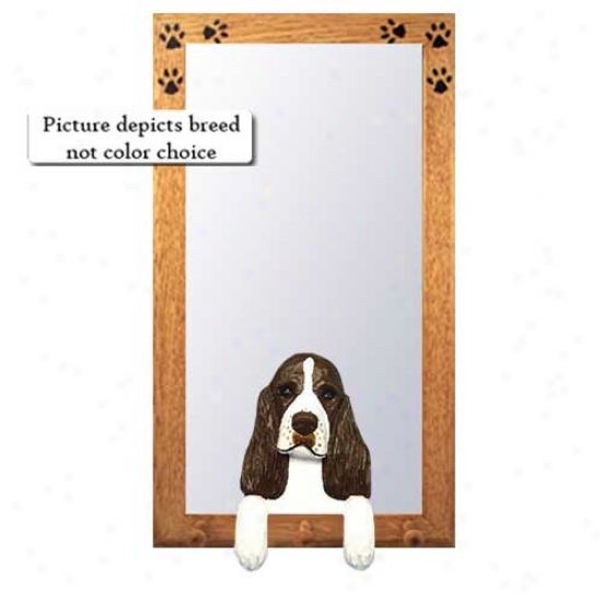Black English Sprinyer Spaniel Hall Mirror With Oak Golden Frame