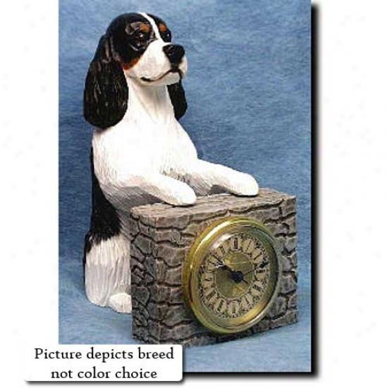 Black English Springer Spaniel Mantle Clock