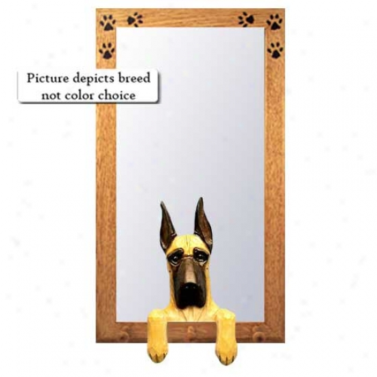 Black Great Dane Large room Mirror With Oak Natural Frame