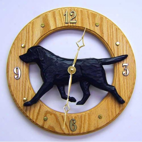 Black Labrador Retreiver Wall Clock In Light Oak By Michael Park