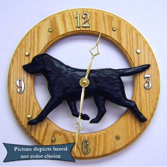 Black Labrador Retriever Wall Clock In Dark Oak By Michael Park