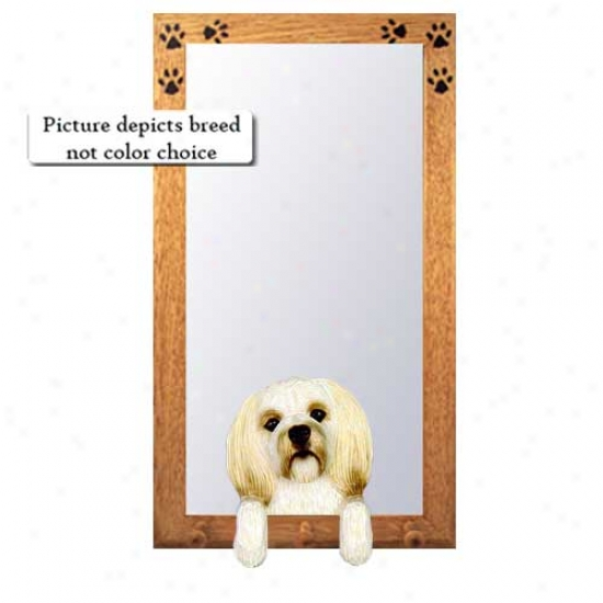Black Lhasa Apso Hall Mirror Woth Basswood Walnut Frame Puppy Clip