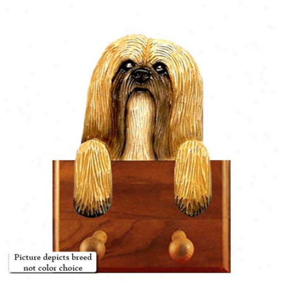 Black Lhasa Apso Leash Holder