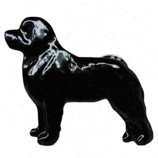Black Newfoundland Hand Painted Pin