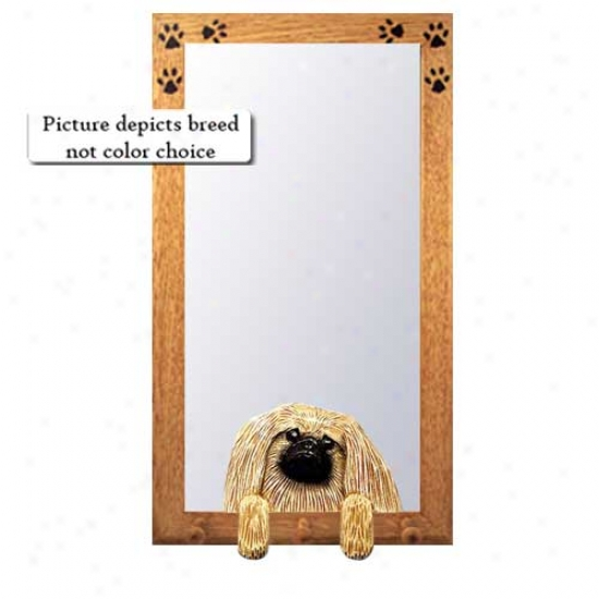 Black Pekingese Hall Mirror With Oak Natural Frame
