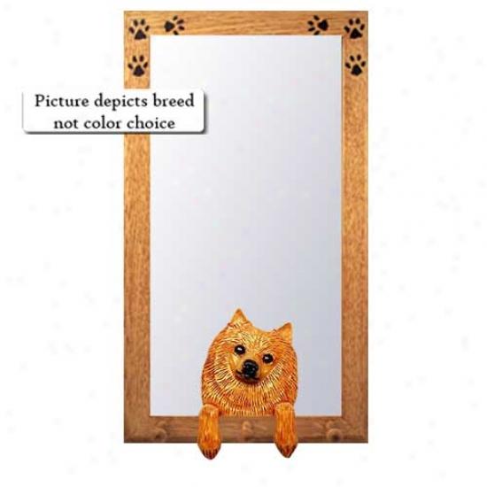 Black Pomeranian Hal lMirror With Oak Golden Frame