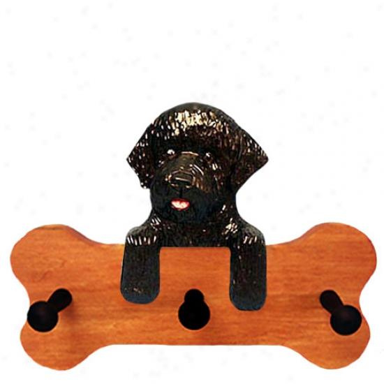 Black Portuguese Water Dog Bone Hang Up Maple Finish