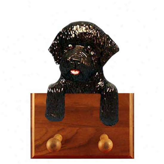 Black Portuguese Water Dog Leash Holder