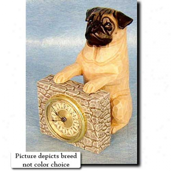 Black Pug Mantle Clock