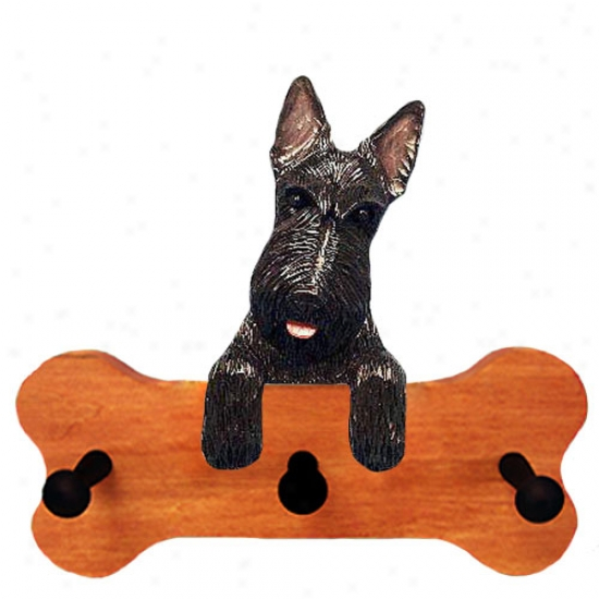 Black Scottish Terrier Bone Hang Up Maple Finish
