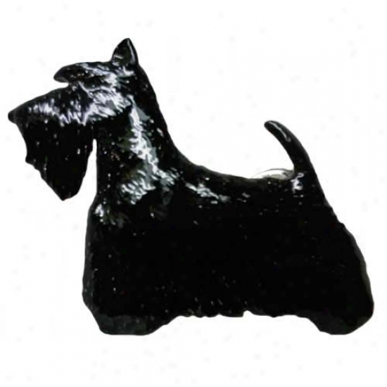 Black Scottish Terrier Hand Painted Pin