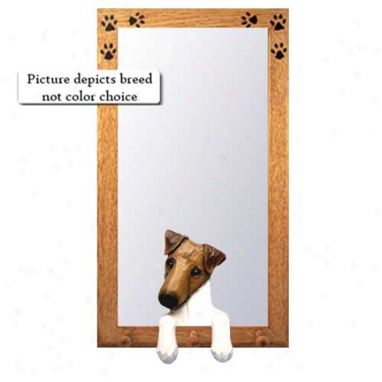 Black Smooth Fox Terrier Hall Mirror With Oak Natural Frame