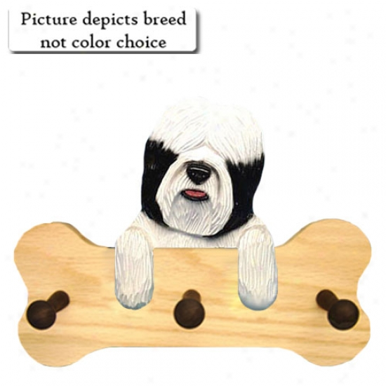 Black Tibetan Terrier Bone Hang Up Natural Oak