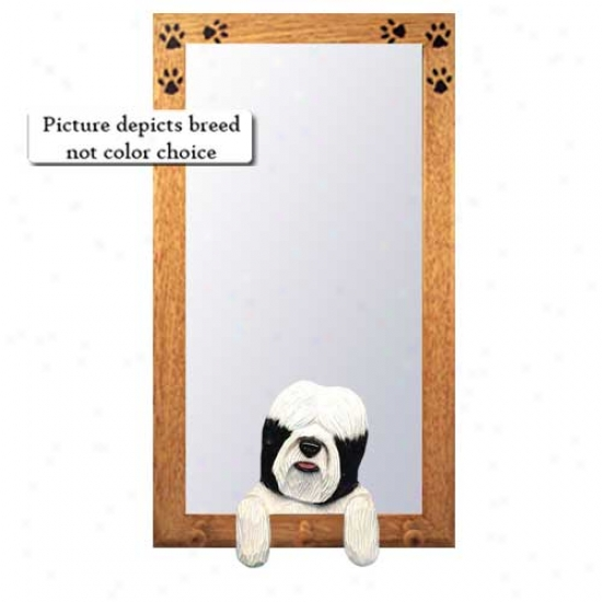 Black Tibetan Terrier Hall Mirror With Oak Natural Frame