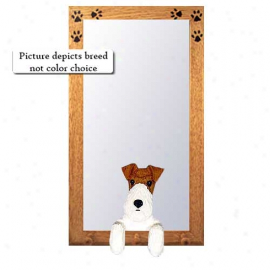 Black Telegraph Fox Terrier Entry  Mirror With Basswood Walnut Frame