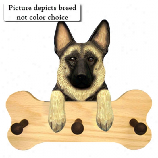 Black With Tan Points German Shepherd Dog Bone Hanng Up Natural Oak