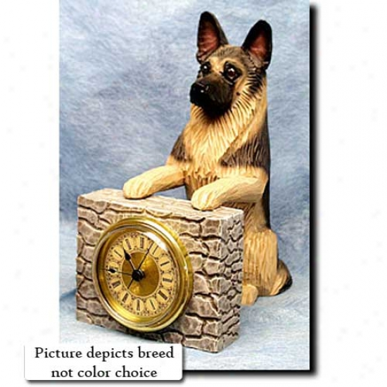Black With Tan Points German Shepherd Dog Expand Clock